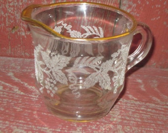 Frosted and Gold Trim Creamer With Grapes , Leaves , Gold Trim at top of it. # 1
