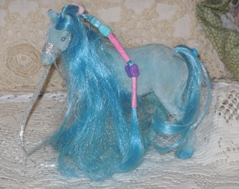 Little Pony Fuzzy Blue with beads in mane ;)s Vintage Horse,Horse,Velvet Horse,Small Horse,