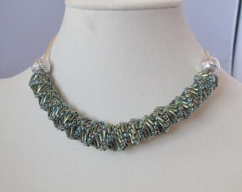 Sea Green Helix Spiral Adjustable-Length Necklace on Satin Cord