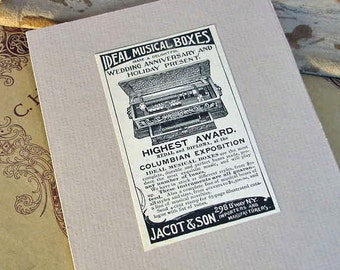 Antique Advertisement 1895 IDEAL MUSIC BOXES Original