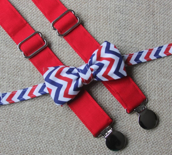 Red White and Blue Chevron Bow Tie and Solid Red Suspenders set ( Fourth 4th of July ) ( Men, boys, baby, toddler, infant )