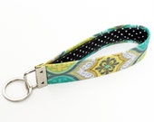 Key fob damask, fabric keychain wristlet for women, keyring gift for her - green yellow Moroccan medallions with black and white polka dot