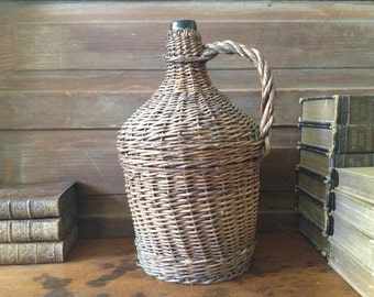 Antique French Demijohn Hand Wrapped Large Wicker Green Glass Wine Bottle