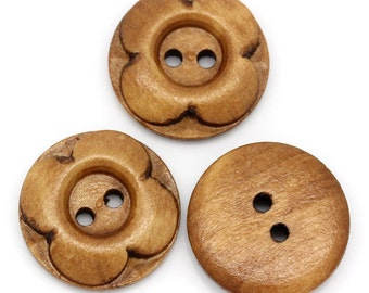 25 Brown Wooden Button - Carved Flower - 4 Holes - 20mm -  Wood Buttons Sewing Scrapbooking 20mm (27356)