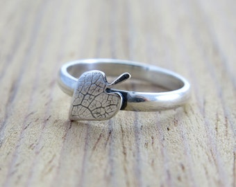 Handcrafted Sterling Silver Art Ring/ Leaf with Leaf Imprint Original handcrafted Jewelry/ Autumn Ring