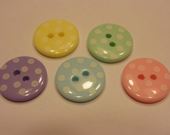 5 piece polka dot  button mix, 18 mm (16)