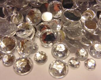 50 piece clear rhinestone flat back mix , 8-12 mm (S7)