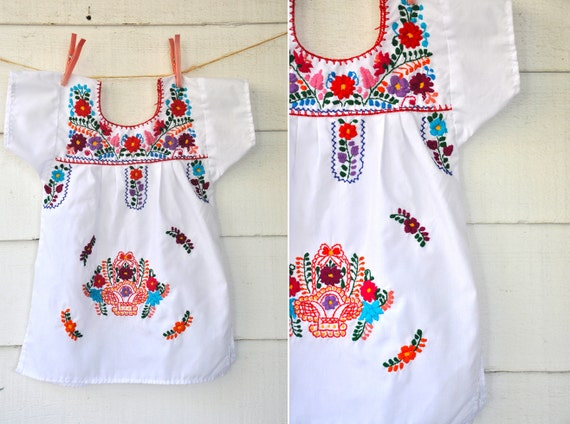 Embroidered mexican baby girl senorita dress boho size