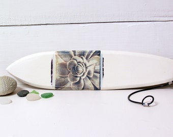 Surfboard.   Polaroid Transfer Printed on Hand-Sculpted Fired Clay Surfboard.  Aeonium Succulent Macro Photograph.