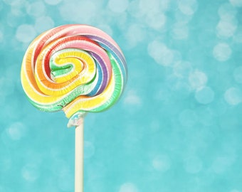Lolly Love - Colorful Candy Lollipop Bokeh Blue Teal Sky Photograph -Fine Art 8x10