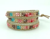 Pastel color wrap cotton bracelet.