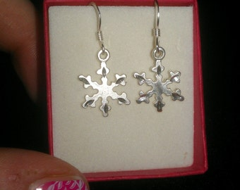 Sterling Silver Snowflake Hook Earrings