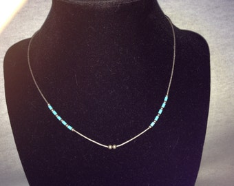 Vintage Costume Silvertone Necklace with Light Blue and Silver Beads