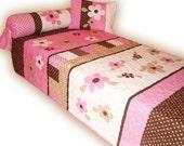 Organic Twin Quilt, Flowery  Quilt  Bedspread - 3 piece bedding set - HET