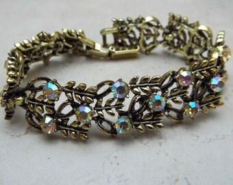 Bracelet Goldtone Vintage Aurora Borealis