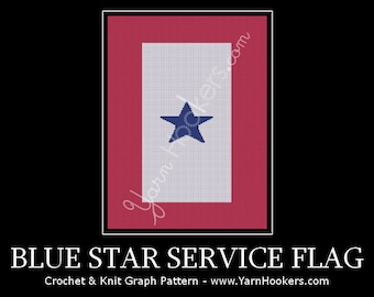 American Blue Star Service Flag - Afghan Crochet Graph Pattern Chart - Instant Download