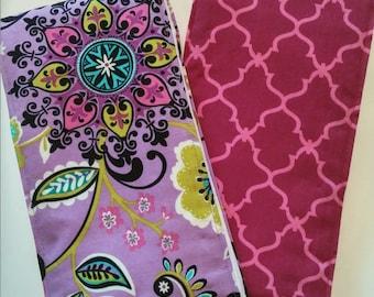 Burp Cloths  - Purple Floral & Magenta Geometric Burp Cloths (Set of 2)
