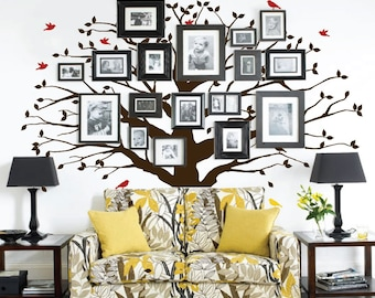 Family Wall Decal Tree Sticker Family Photo Tree Vinyl Wall Sticker Photo Decal Family Like Branches on a Tree #1233 (Choose Size, Color)