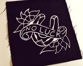 Original No Luck Handmade Screen Printed Patch, White on Black/Maroon