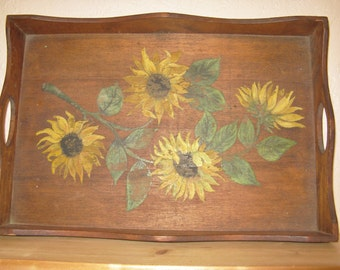 Wooden Sunflower Serving Tray