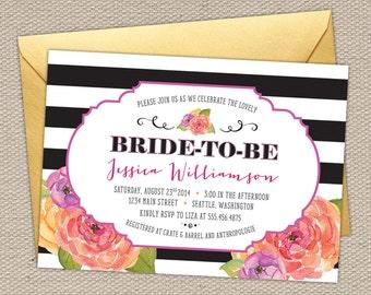 Glamorous Watercolor Floral Bridal Shower Invitation || Black Stripes, Purple, Coral, Melon, Gold