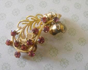 Vintage Brooch - pink brooch, gemstone, rhinestone, goldtone BOW
