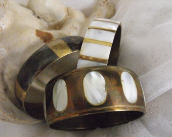 Vintage Brass/Mother of Pearl Bangle Bracelet lot (set of 3)
