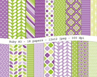 Ruby #3 - purple green digital scrapbooking paper pack -18 printable jpeg papers, 12x12, 300 dpi - instant download