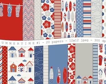 Summertime No.1 - digital scrapbooking paper pack - 20 red blue grey printable jpeg papers, 12x12, 300 dpi - instant download