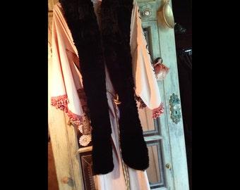 Rosetta-Vintage Blush Pink Kimono with Black Embroidered Pattern, Black Fur Sash Collar, Gold Frog Closure and Tassel Belt, Chain Belt Loops
