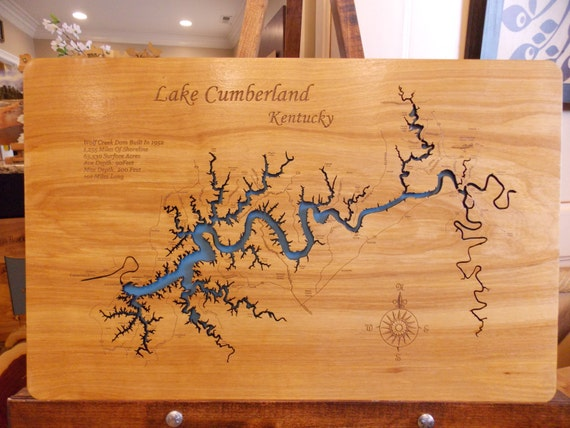 Wood Laser Cut Map of Lake Cumberland, KY Topographical Engraved Map ...