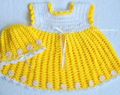 Crocheted  Dress  and Hat for Baby Girl , baby summer dress