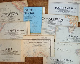 Vintage National Geographic Political/ Physical/ Continent/ Country/ Regional Map
