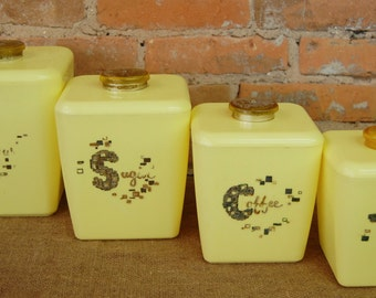 Vintage Pale Yellow Plastic Canister Set