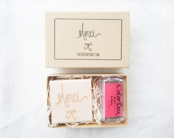 Merci Bow Gift Set - handlettered stamp set with mini inkpad - merci stamp - thank you stamp with ink pad - ready to ship F0003