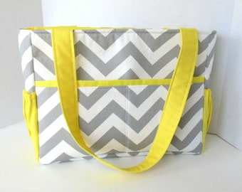 Chevron Diaper Bag Gray with Yellow Lining or Choose Your Own 12 Pockets Zipper Closure