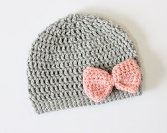 Baby Girl Crochet Bow Hat- Gray with Pink Bow