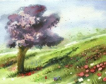 """Original Spring Watercolor Landscape """"April Meadow"""" Aquarelle Watercolour"""