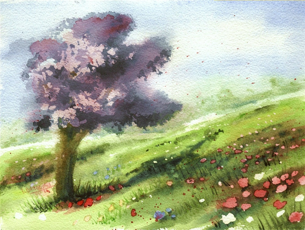 Original Spring Watercolor Landscape April Meadow