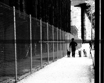 "New York ""Dogwalking"" Black and White Fine Art Photograph"