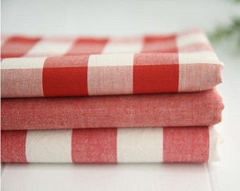 Yarn Dyed Cotton Fabric Vintage Red - Plaid, Stripe or Solid - By the Yard 20765