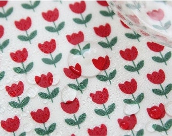 """Laminated Cotton Fabric - Red Tulip - 44"""" Wide - By the Yard 55945"""