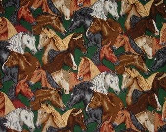Real McCOY MUSTANG Horse Heads Hunter Green Horse Equestrian Fabric Robert Kaufman New