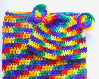 Newborn Rainbow Cocoon And Hat With Ears  Baby Bunting With Infant Boy Cap Girl Snuggle Sack And  Beanie Ready To Ship Shower Gift