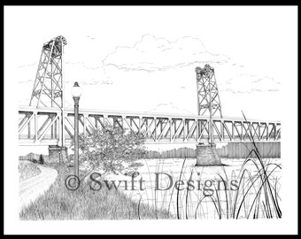 Yankton Meridian Bridge Print - Pen and Ink Drawing - 17x20