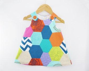 Girl dress - Patchwork Print Aline dress - Baby girl - Toddler girl dress - size 0-3m, 3-6m, 6-12m, 12-18m, 18-24m, 2T, 3T, 4T, 5T