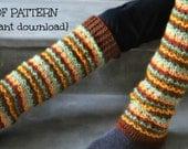 Crochet leg warmer pattern, leg warmers, knee high leg warmer pattern, 5 sizes - child and adult, pattern no. 108