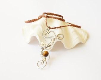 earthy wire wrap pendant ··· tiger eye boho pendant necklace ··· handmade wire wrap pendant necklace ··· tiger eye pendant ··· boho necklace