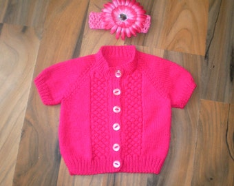 pretty little hand knitted baby girl short sleeve cardigan/sweater with flower headband cerise pink 0-6 month