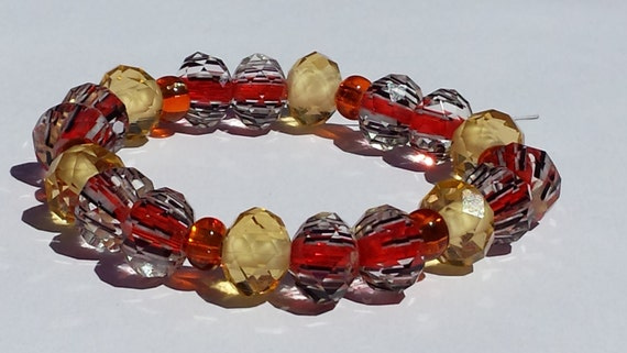 Handmade Orange Beaded Bracelet with glass beads Fall Jewelry for her